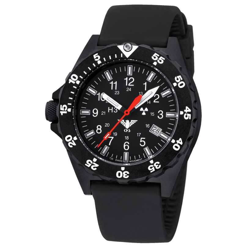 KHS SH.SB Mens Watch Shooter with Silicone Strap Black 4260260546120