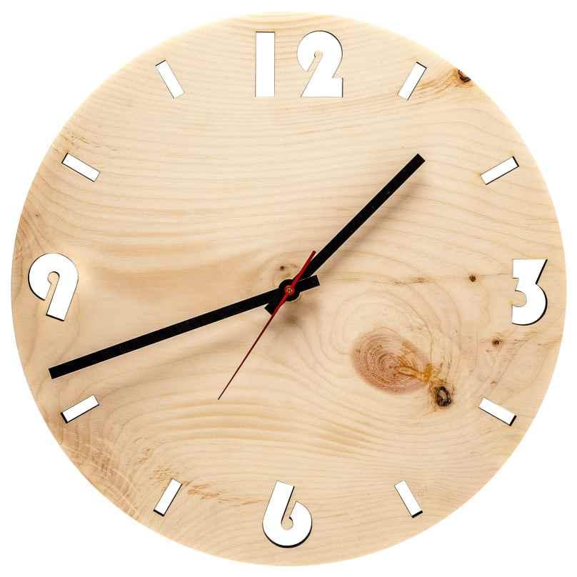 Huamet U4001 Wood Wall Clock Pine Round 4260497085737