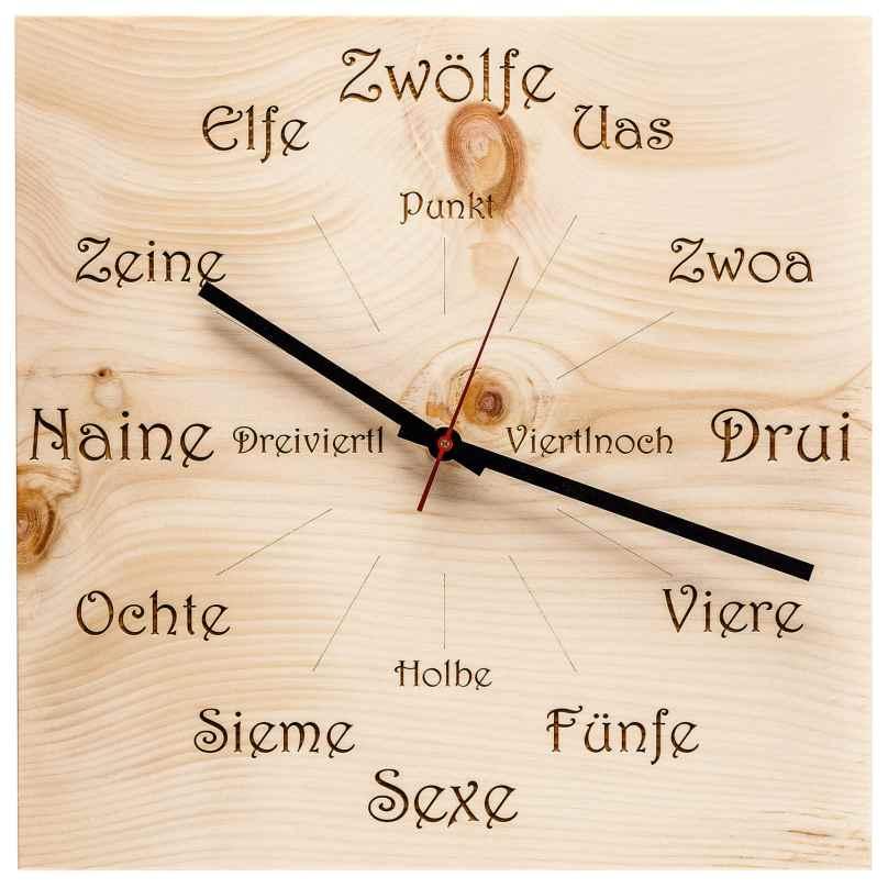Huamet U4100 Holz-Wanduhr Zirbe Dialekt Eckig 4260497085850