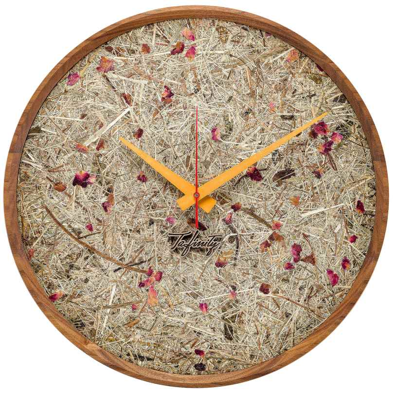 Huamet CF10-F-10 Wall Clock Hay and Roses Walnut 4260497088806