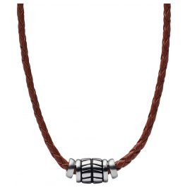 Fossil JF02687040 Mens Leather Necklace Vintage Casual