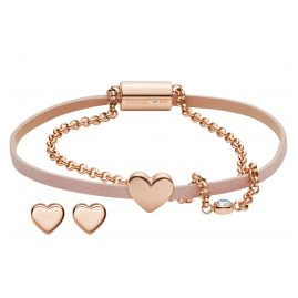 Fossil JF03051791 Gift Set Ladies' Bracelet and Stud Earrings Heart