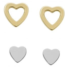 Fossil JFS00454998 Silber Damen-Ohrstecker-Set Duo Heart