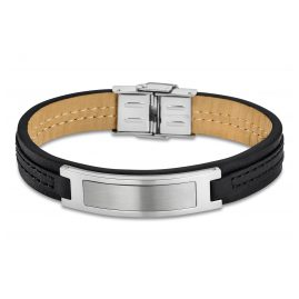 Lotus 1808-2/2 Mens Leather Bracelet Black