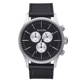 Nixon A405 000 Herrenuhr Sentry Chrono Leather Black