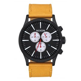 Nixon A405 2448 Herrenuhr Sentry Chrono Leather All Black/Goldenrod