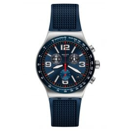 Swatch YVS454 Herrenuhr Chronograph Blue Grid