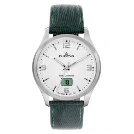 Dugena 4460861-TGR Men's Radio-Controlled Watch with Green Leather Strap