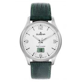 Dugena 4460861-TGR Herren-Funkuhr mit Grünem Lederband