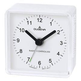 Dugena 4460795 Radio-Controlled Travel Alarm Clock White