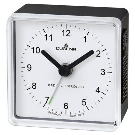 Dugena 4460796 Radio-Controlled Travel Alarm Clock Black