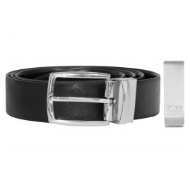 Boss 50402904-001 Gift Set with Men's Belt and Money Clip