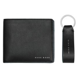 Boss 50397501 Men's Gift Set Wallet and Keyring Pendant Black