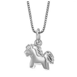 trendor 49037 Mädchen Silber-Halskette mit Pony-Anhänger