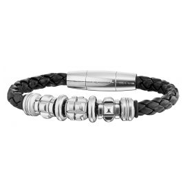 Police PJ25881BLB-01-L Grinder Leather Mens Bracelet