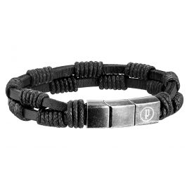 Police PJ25889BLB-01 Twin Row Mens Leather Bracelet