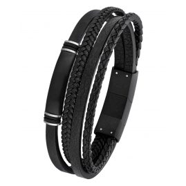 s.Oliver 2018696 Men's Leather Bracelet Black