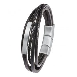 s.Oliver 2022624 Men's Leather Bracelet Black