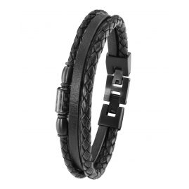 s.Oliver 2022637 Men's Leather Bracelet Black