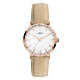s.Oliver SO-3333-LQ Damen Leder-Armbanduhr