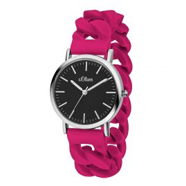 s.Oliver SO-3417-PQ Damen-Armbanduhr Kirschrot