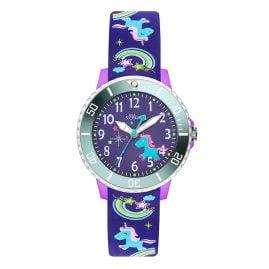 s.Oliver SO-3434-PQ Kinder-Armbanduhr Einhorn