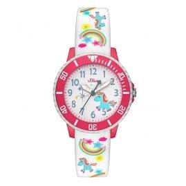 s.Oliver SO-3435-PQ Mädchen-Armbanduhr Einhorn