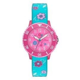 s.Oliver SO-2992-PQ Mädchen-Armbanduhr Blumen Pink/Türkis