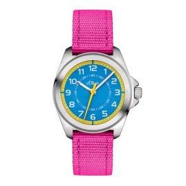 s.Oliver SO-3227-LQ Kinderuhr für Mädchen Pink/Blau