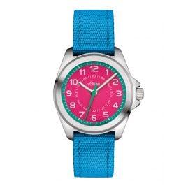 s.Oliver SO-3229-LQ Mädchen-Kinderuhr Blau/Pink