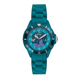 s.Oliver SO-2597-PQ Kids Watch Turquoise Butterfly