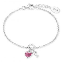 s.Oliver 2024213 Silber Mädchen-Armband mit Herz und Schlüssel