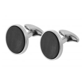trendor 75077 Cufflinks Stainless Steel and Carbon Fibre