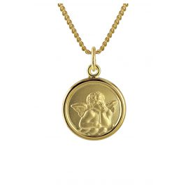 trendor 73426 Gold Angel Pendant for Kids on 40 cm Gold-Plated Necklace