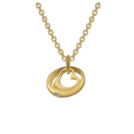trendor 78285 Gold Christening Ring on 42 cm Gold-Plated Necklace