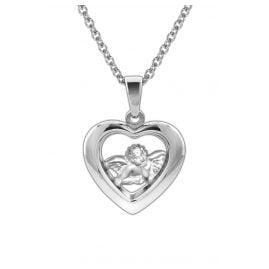 trendor 78865 Kids Silver Necklace Heart with Guardian Angel