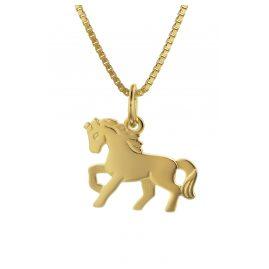 trendor 35736 Kinder Gold-Anhänger Pferd mit 40 cm goldplattierter Halskette