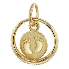 trendor 08276 Taufring mit Babyfüßen 333 Gold