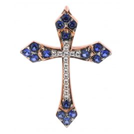 trendor 08836 Pendant Cross Rose Gold 585 Cubic Zirconia
