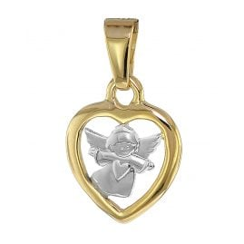 trendor 08855 Heart Pendant with Angel Gold 585 Two-Tone