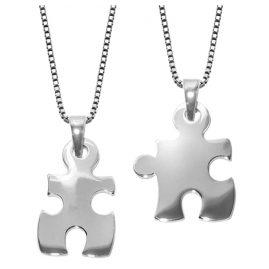 trendor 63775 Puzzle Partner-Anhänger 2 Halsketten Silber