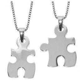 trendor 63782 Große Puzzle Partner-Anhänger Silber