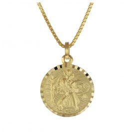 trendor 08520 St. Christopher Gold Pendant with Gold Plated Mens Necklace