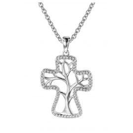 trendor 08821 Halskette und Anhänger Kreuz mit Lebensbaum Silber 925