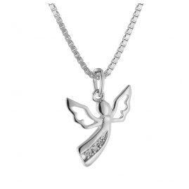 trendor 08843 Engel Anhänger Weißgold 585 mit 3 Diamanten an Silberkette