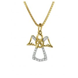 trendor 08848 Angel Pendant Gold 585 with 18 Diamonds on Gold-Plated Necklace