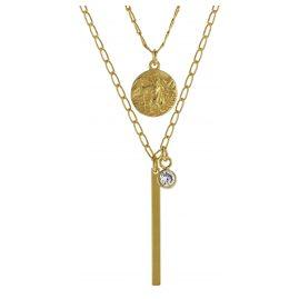 trendor 08997 Halskette für Damen 925 Silber Goldplattiert Zirkonias