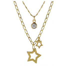 trendor 08998 Halskette mit Anhängern 925 Silber Goldplattiert 2-reihig