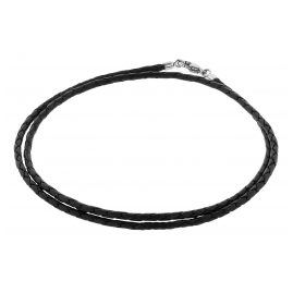 trendor 75002 Leder-Halsband für Männer Flechtleder Schwarz + Silber 925