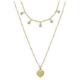 trendor 75065 Halskette für Damen 925 Silber Goldplattiert 2-reihig Zirkonias